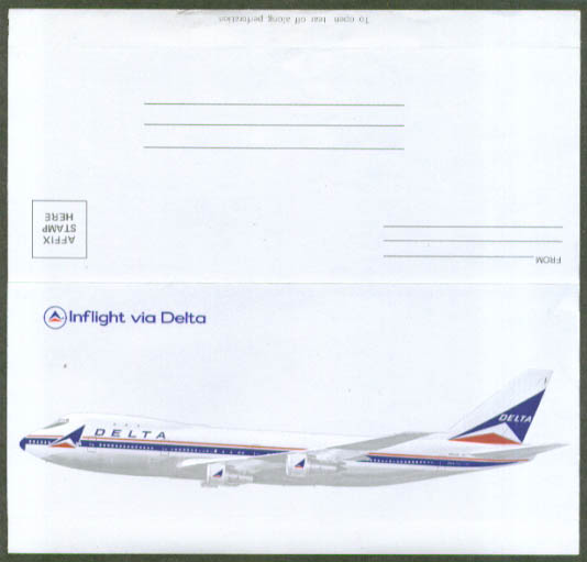 Delta Air Lines Inflight folding self-mailed note 1960s