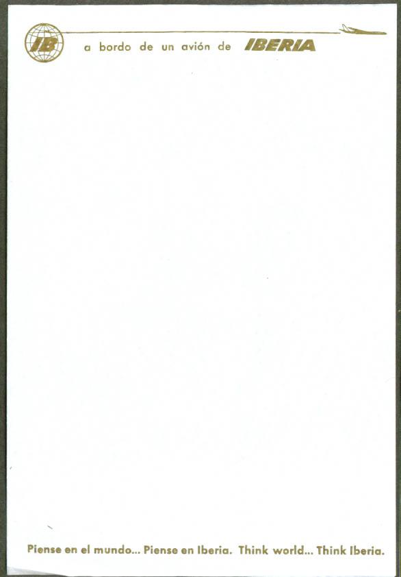 Iberia Air Lines in-flight notepaper 1960s