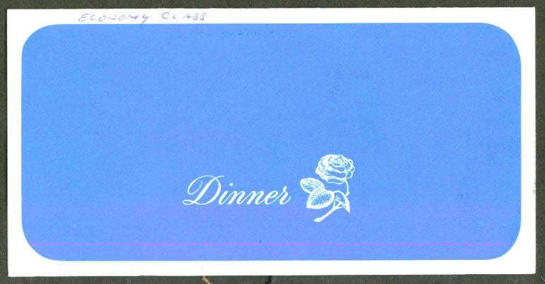 United Air Lines Economy Class Dinner Menu JFK 60s