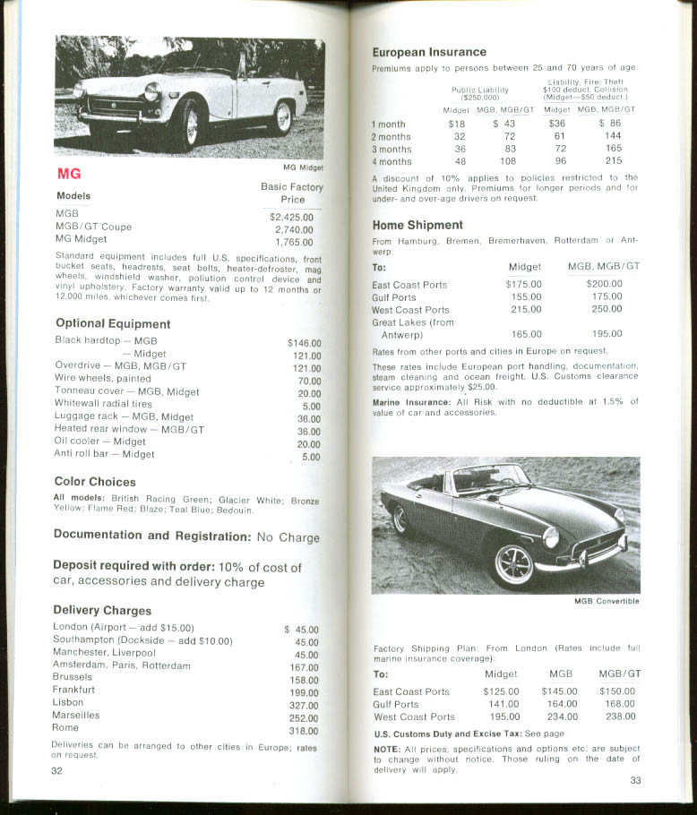 Avis European Car Purchase booklet 1971
