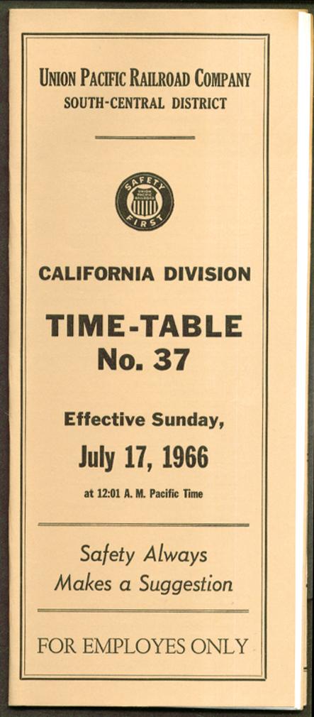 Union Pacific California Div Employe TT #37 7/17 1966