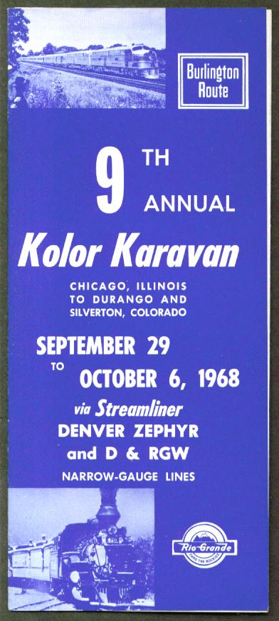 Burlington Route Rio Grande Kolor Karavan folder 1968