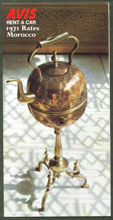 Avis Rent a Car Rates Morocco 1971 folder