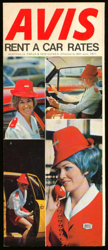 Avis Rent a Car Rates Australia Papua New Guinea 1971