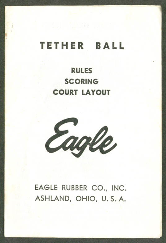Eagle Rubber Teherball Rules & Layout folder 1950s