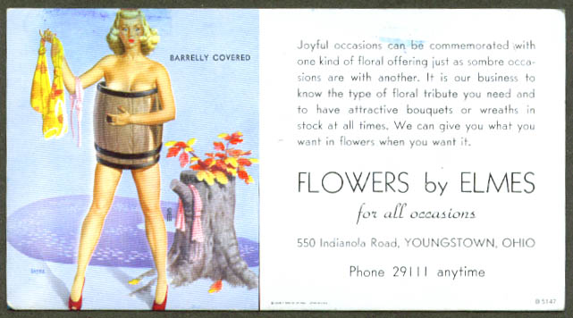 Barrely Covered pin-up blotter Elmes Flowers 1940s