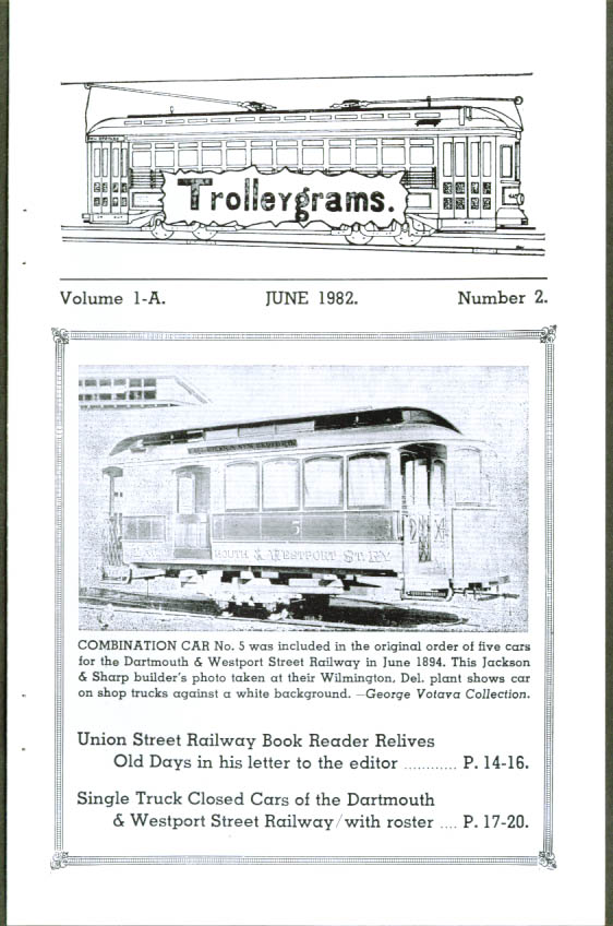Trolleygrams V1-A #2 6 1982 issue New Bedford MA