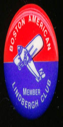 """Lindbergh Club Member Boston American pinback 7/8"""" diameter ROUND"""