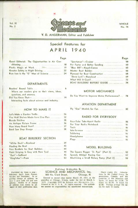 SCIENCE & MECHANICS Boat-builders Issue 4-5 1940
