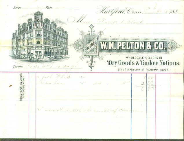 W N Pelton Dry Goods Yankee Notions Hartford CT 1888