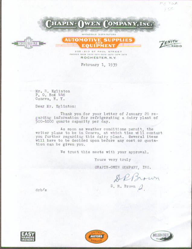 Chapin-Owen Auto Supplies Rochester NY letter 1939