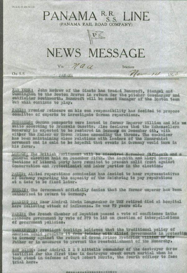 S S Panama News 11/14 1923 Giants McGraw trades