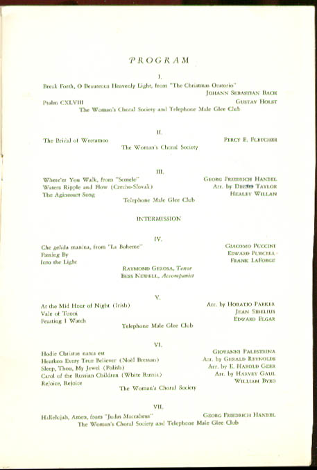 Women's Choral Telephone Male Glee Club New Haven 1939