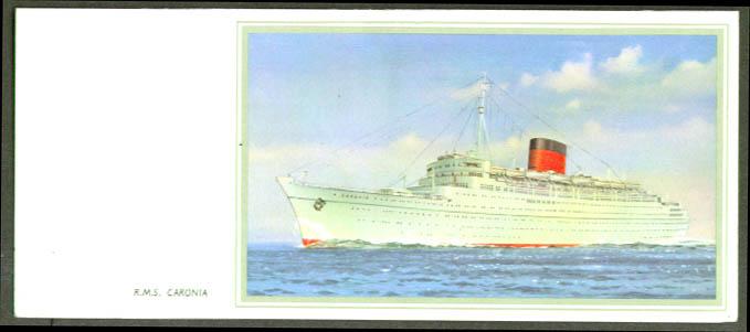 Cunard R M S Caronia note card 1950s