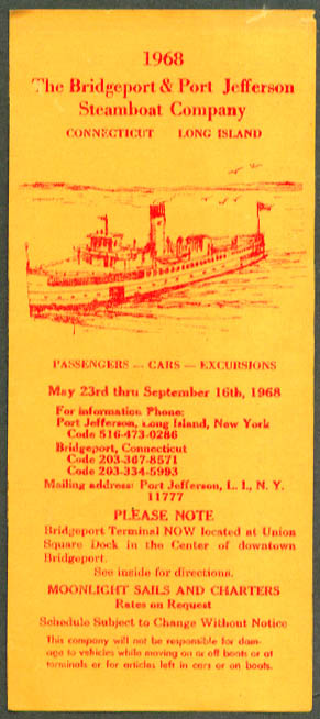 Bridgeport Port Jefferson Steamboat Schedule folder 1968