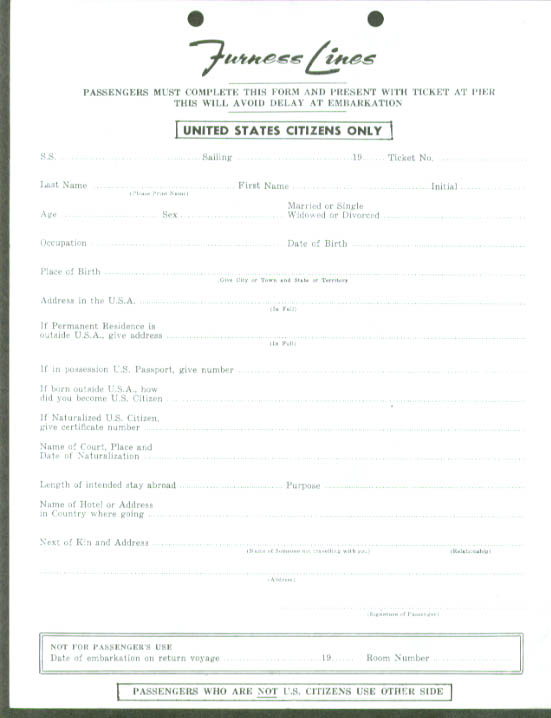 Furness Lines Citizen / Non-Citizen Embarkation Form