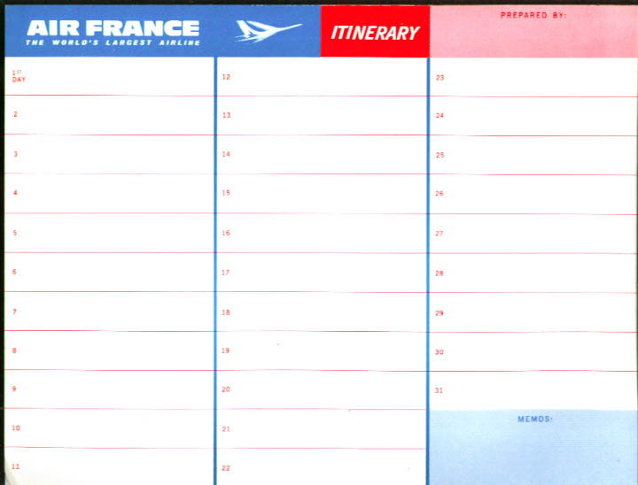 Air France Itinerary Form & Route Map unused 1960s