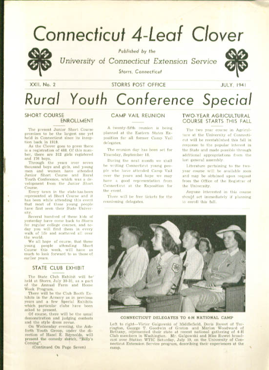 Connecticut 4-Leaf Clover 4-H UConn 7 1941 issue