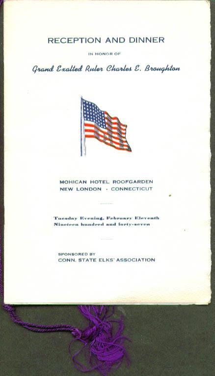 Charles E Broughton Dinner CT Elks New London CT 1947