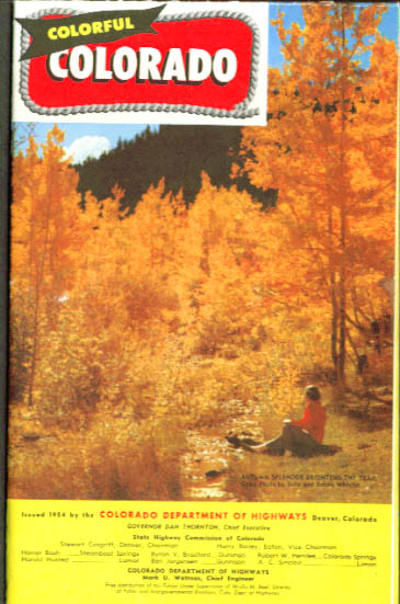 Colorful Colorado Dept of Highways Road Map 1954