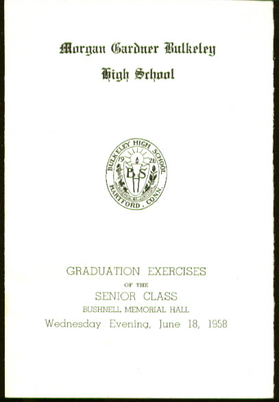 Bulkeley High Graduation Program 1958 Hartford CT