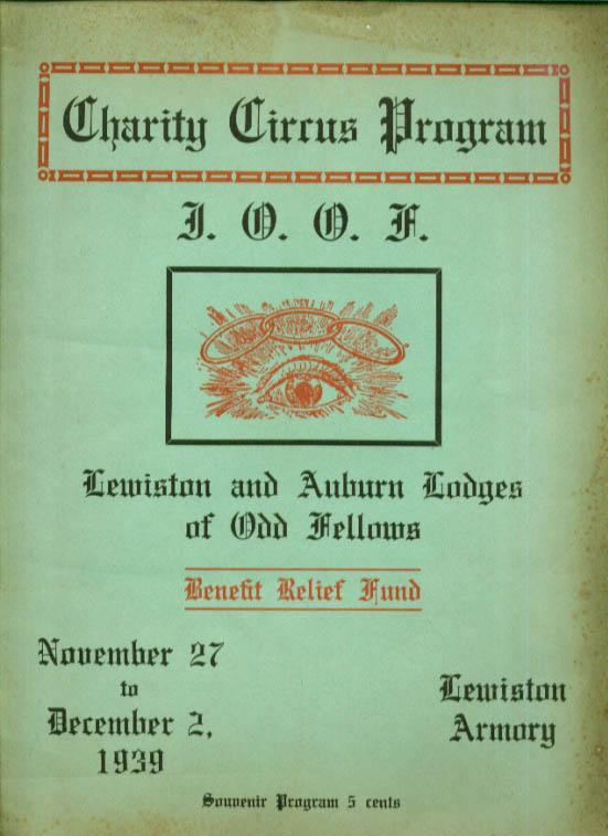 Odd Fellows Charity Circus Program Lewiston Maine 1939