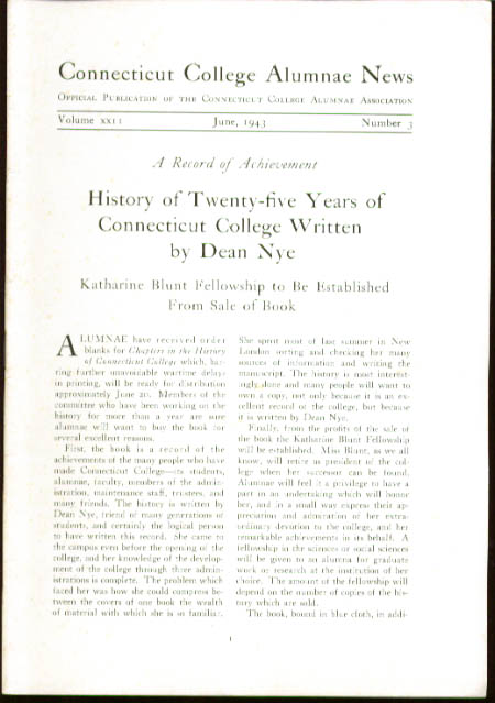 Connecticut College Alumnae News 6 1943 issue