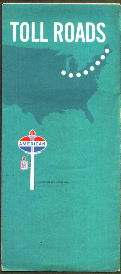 American Gasoline Road Map USA Toll Roads 4 1969