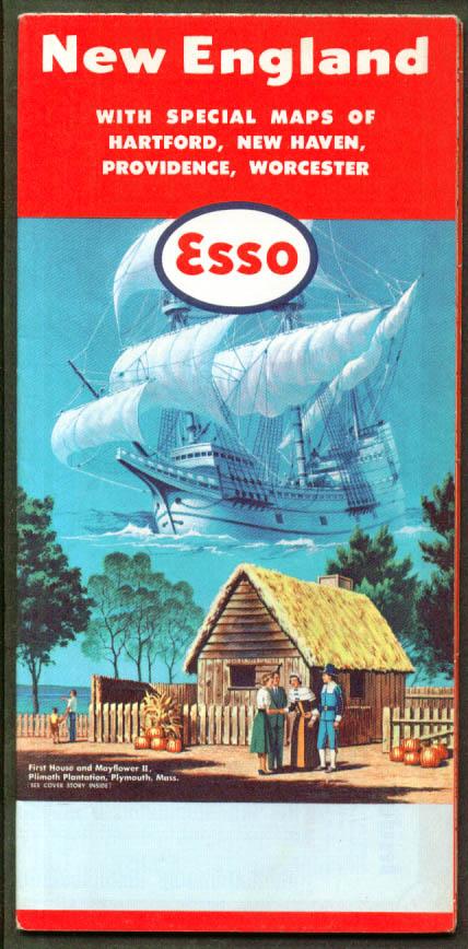 Esso Gasoline Road Map New England 1958