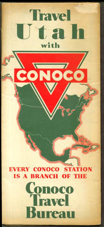 Conoco Gasoline Road Map Utah 1937