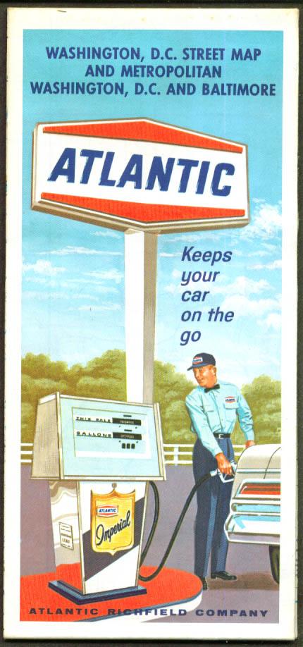 Atlantic Gasoline Road Map Washington DC Metro 1967