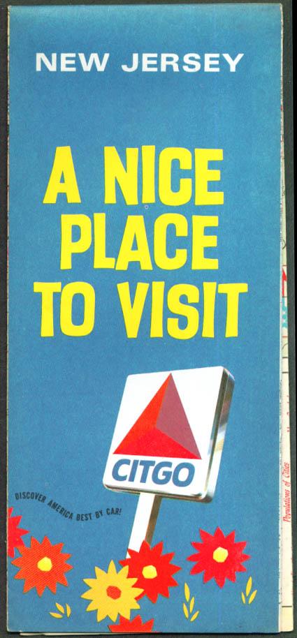Citgo Gasoline Road Map New Jersey 1969