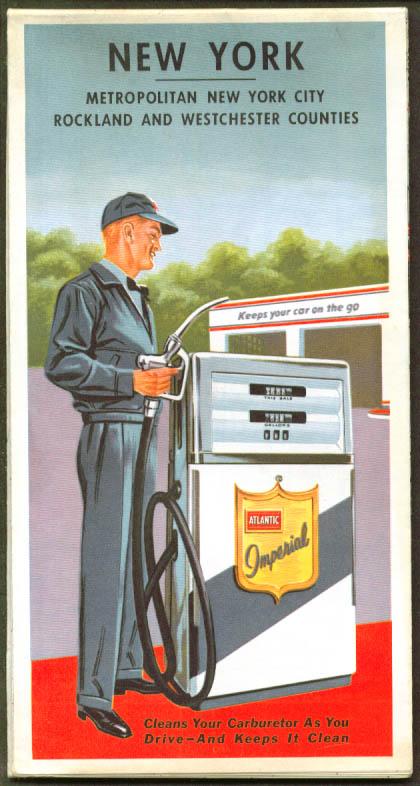 Atlantic Gasoline Road Map New York State & City 1963