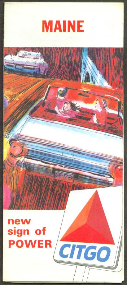 Citgo Gasoline Road Map Maine 1965