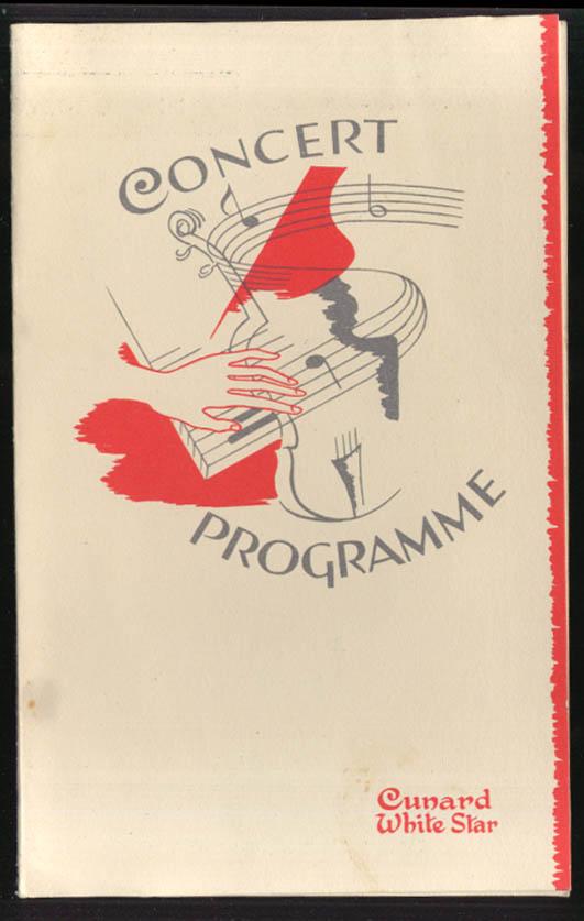 Cunard R M S Queen Elizabeth Cabaret Dance program 1948