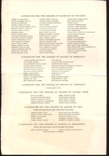 Union Theological Seminary Graduation Program 1932