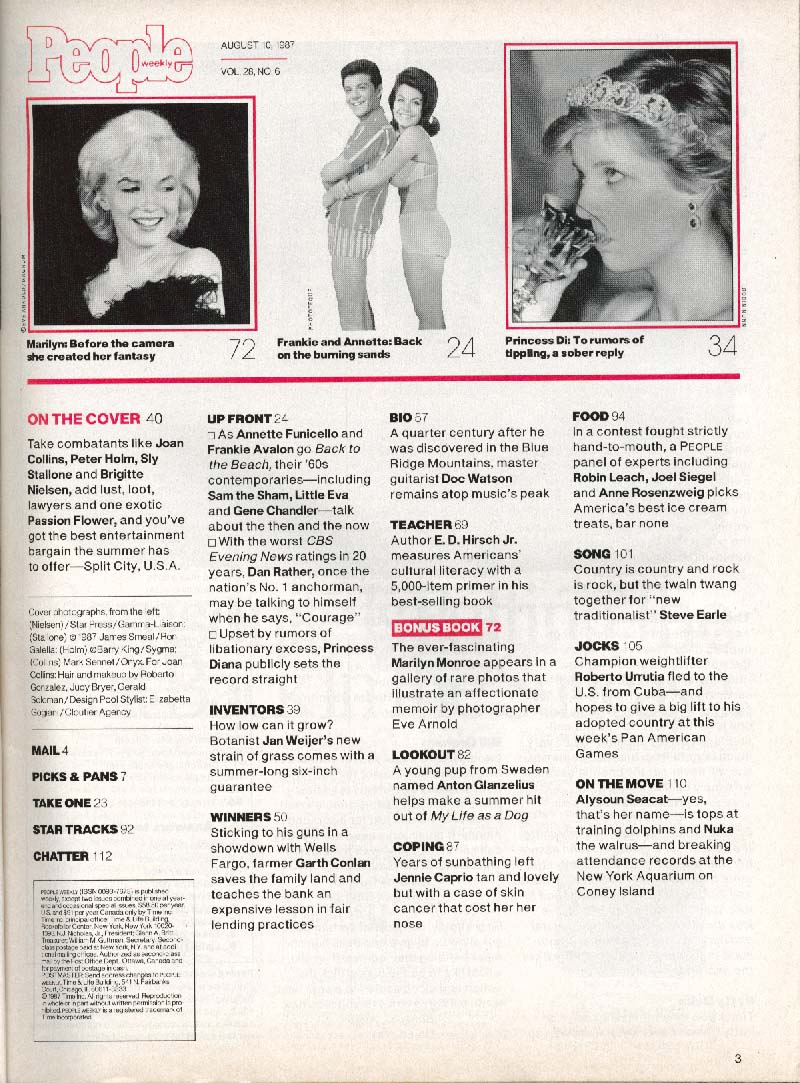 PEOPLE Joan Collins Brigitte Neilsen Sylvester Stallone Peter Holm ++ 8/10 1987