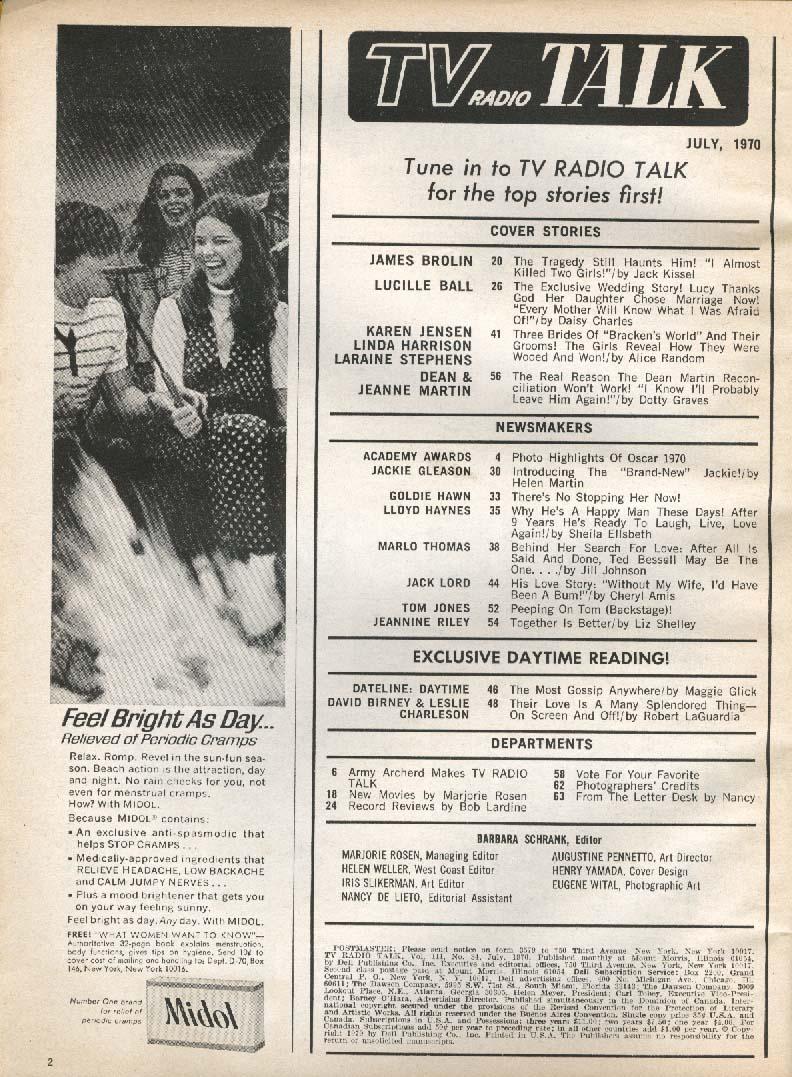 TV RADIO TALK Lucille Ball Dean Martin James Brolin 7 1970