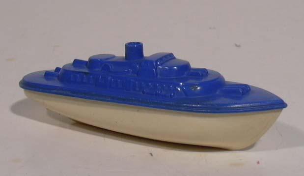 Banner Navy Cruiser blue & white plastic boat 1950s