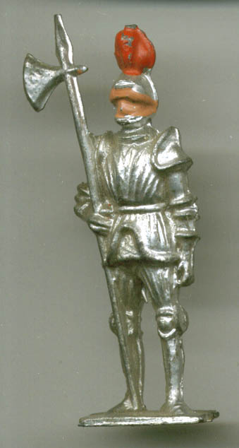 Medieval knight with fixed halberd lead soldier