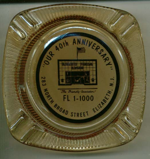 Elizabeth Federal Savings 40th Anniversary ashtray NJ