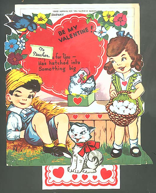 3-D Valentine to Teacher Salesman Sample Curran Co 1954