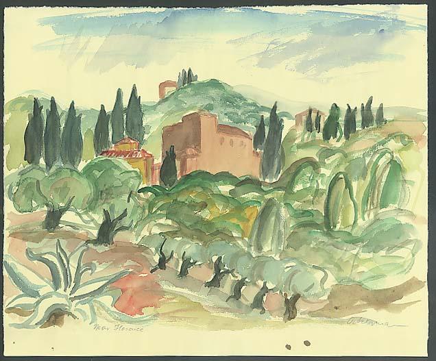 "Frank ? Ackerman original watercolor ""Near Florence"""