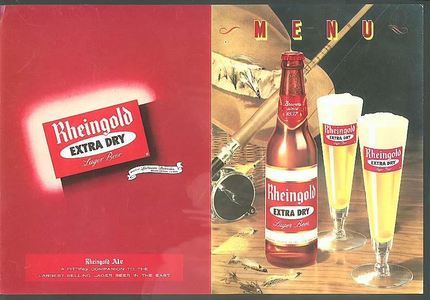 Rheingold Extra Dry Lager Beer menu blank ca 1955