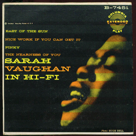 Sarah Vaughan in Hi-Fi 45rpm Columbia B-7451