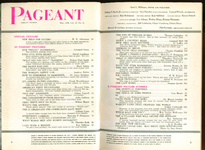 PAGEANT Lee Remick J Paul Getty Walter Reuther 5 1958