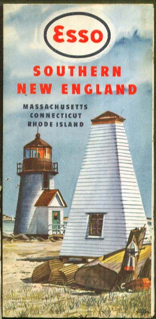 Esso Gasoline Southern New England Road Map 1949