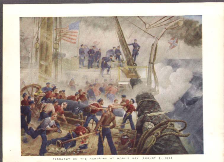 1864 Farragut on the Hartford William Heysham Overend color plate ca 1880s