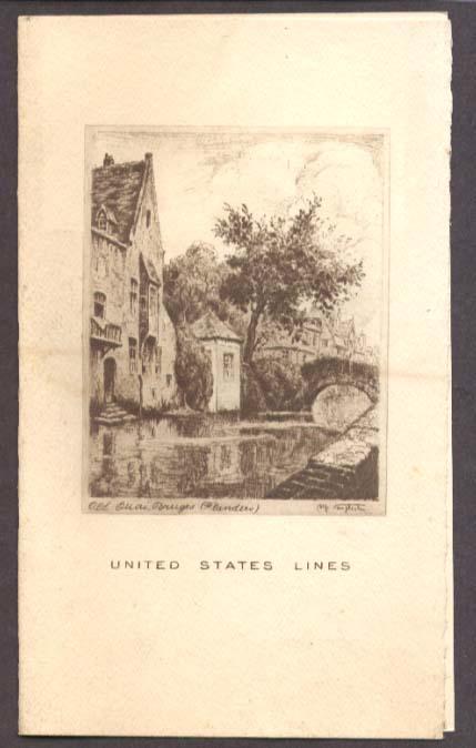 United States Lines SS Washington Gala Dinner Menu 1936
