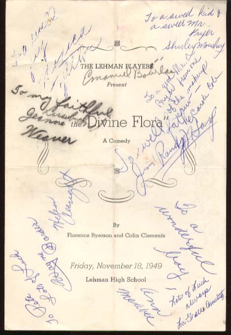 Lehman High Program Divine Flora 1949 New York City autographs